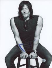 "Norman Reedus Autographed 8"" x 10"" Sitting Black & White Photograph - Beckett COA"