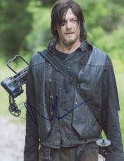 "Norman Reedus Autographed 8"" x 10"" Standing with Mouth Open Photograph - Beckett COA"