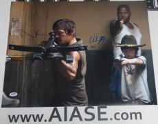 Norman Reedus & Chandler Riggs Signed The Walking Dead 16x20 Photo PSA/DNA COA