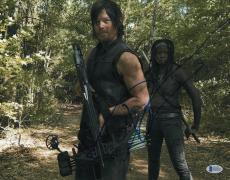 Norman Reedus & Danai Gurira Signed Auto Walking Dead 11x14 Bas Beckett Coa 9