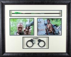 "Norman Reedus ""Daryl Dixon"" Michael Rooker ""Merle Dixon"" Autographed/Signed Bone Collector Crossbow Arrow and Handcuffs The Walking Dead"