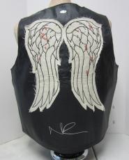Norman Reedus Daryl Dixon Signed Walking Dead Faux Leather Vest Psa/dna #ac65880