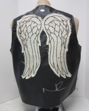 Norman Reedus Daryl Dixon Signed Walking Dead Faux Leather Vest Psa/dna #ac65895