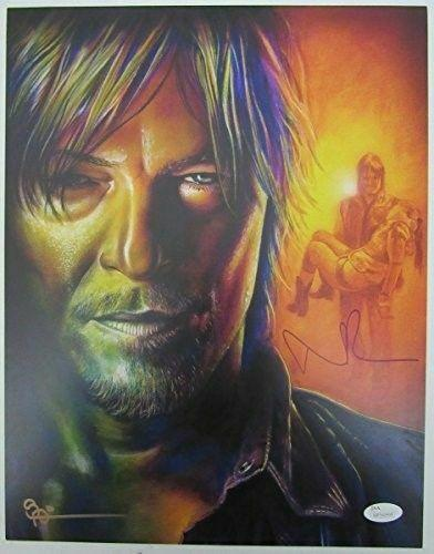 "Norman Reedus ""Daryl Dixon"" The Walking Dead Auto Scott Spillman 11x14 129506"