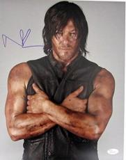 Norman Reedus Daryl Dixon Walking Dead Autographed/Signed 11x14 Photo JSA 129325