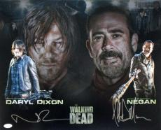 Norman Reedus Jeffrey Dean Morgan Dual Signed The Walking Dead 16x20 Photo JSA