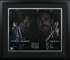 Norman Reedus Jeffrey Dean Morgan Signed Framed The Walking Dead 16x20 Photo JSA