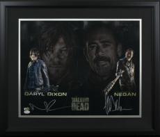 Norman Reedus Jeffrey Dean Morgan Signed Framed 16x20 The Walking Dead Photo JSA