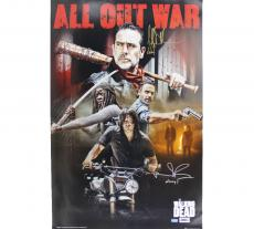 Norman Reedus & Jeffrey Dean Morgan Signed The Walking Dead Full Size Poster - All Out War