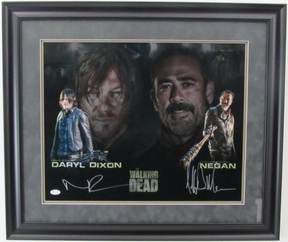 Norman Reedus / Jeffrey Dean Morgan Walking Dead Signed Framed 16x20  Photo JSA