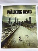 Norman Reedus Jon Bernthal Tom Payne Autograph 16x20 Canvas The Walking Dead COA