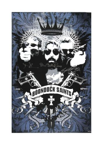 Norman Reedus, Sean Patrick Flanery & David Della Rocco Signed The Boondock Saints Blue & White Movie Poster
