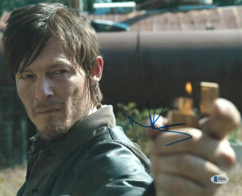 Norman Reedus Signed 11x14 Photo Walking Dead Beckett Bas Autograph Auto H