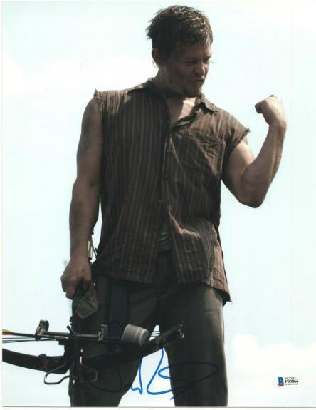 Norman Reedus Signed 11x14 Photo Walking Dead Beckett Bas Autograph Auto U