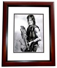 Norman Reedus Signed - Autographed The Walking Dead - Daryl Dixon 11x14 inch Photo MAHOGANY CUSTOM FRAME - Guaranteed to pass PSA or JSA