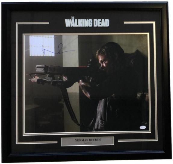 Norman Reedus Signed Framed 16x20 The Walking Dead Daryl Dixon Aiming Photo JSA
