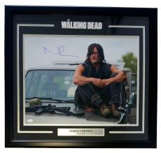 Norman Reedus Signed Framed The Walking Dead Daryl Dixon On Car 25x27 Photo JSA
