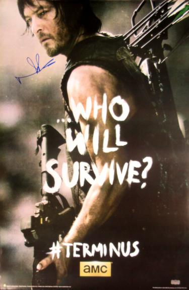"Norman Reedus Signed The Walking Dead Terminus ""Who Will Survive"" Full Size Poster"