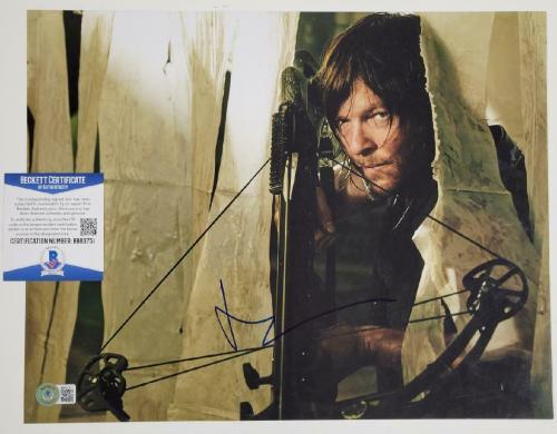 Norman Reedus signed Walking Dead 11x14 Photo Daryl Dixon ~ Beckett BAS COA