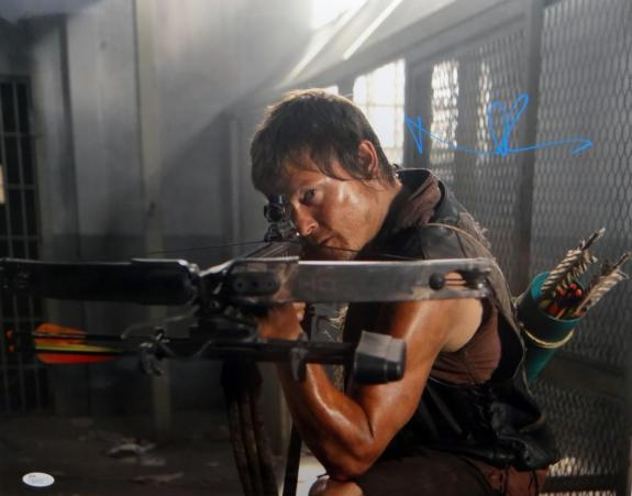 Norman Reedus Signed Walking Dead 16x20 Crouching W/ Crossbow Photo *Teal JSA Au