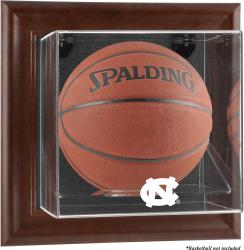 North Carolina Tar Heels Brown Framed (2015-Present Logo) Wall-Mountable Basketball Display Case