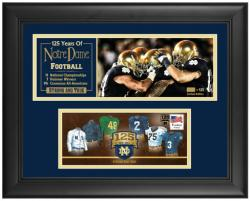 Notre Dame Fighting Irish 125 Years Framed Mini Panoramic with Cachet - Mounted Memories