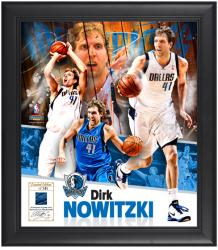 "Dirk Nowitzki Dallas Mavericks Framed 15"" x 17"" Collage with Game-Used Jersey-Limited Edition of 541 - Mounted Memories"