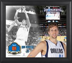 """Dirk Nowitzki Dallas Mavericks Framed 15"""" x 17"""" Mosaic Collage with Team-Used Basketball-Limited Edition of 99"""