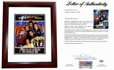 NSync Justin Timberlake Signed - Autographed 11x14 inch Photo Book - NO STRINGS ATTACHED Tour Book- also signed by Lance Bass, Joey Fatone, JC Chasez, and Chris Kirkpatrick - MAHOGANY CUSTOM FRAME - PSA/DNA Certificate of Authenticity (COA) - FULL Letter