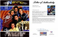 NSync Justin Timberlake Signed - Autographed 11x14 inch Photo Book - NO STRINGS ATTACHED Tour Book- also signed by Lance Bass, Joey Fatone, JC Chasez, and Chris Kirkpatrick - PSA/DNA Certificate of Authenticity (COA) - FULL Letter