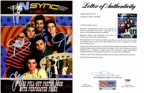 NSYNC Group Signed - Autographed NO STRINGS ATTACHED Tour Book by Justin Timberlake, JC Chasez, Lance Bass, Joey Fatone, and Chris Kirkpatrick - PSA/DNA Certificate of Authenticity (COA) - FULL Letter