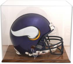 Minnesota Vikings Oak Base Helmet Logo Display Case with Mirror Back