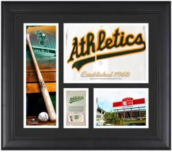 Oakland Athletics Team Logo Framed 15'' x 17'' Collage with Piece of Game-Used Ball - Mounted Memories