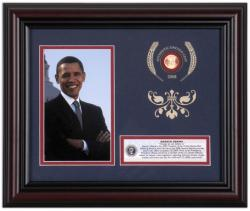 OBAMA, BARACK FRAMED 4x6 PHOTO w/2008 LINCOLN PENNY
