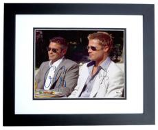 Oceans 11 - George Clooney and Brad Pitt Dual Autographed 8x10 Photo BLACK CUSTOM FRAME