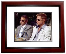 Oceans 11 - George Clooney and Brad Pitt Dual Autographed 8x10 Photo MAHOGANY CUSTOM FRAME