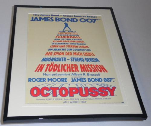 Octopussy German Framed 11x14 Repro Movie Poster Display James Bond Roger Moore