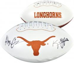 Alex Okafor & Kenny Vaccaro Texas Longhorns Autographed White Panel Football