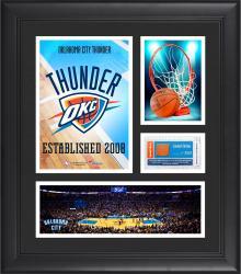 "Oklahoma City Thunder Team Logo Framed 15"" x 17"" Collage with Team-Used Baseketball"