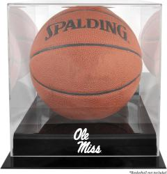 Ole Miss Rebels Black Base Logo Basketball Display Case with Mirrored Back