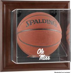 Ole Miss Rebels Brown Framed Logo Wall-Mountable Basketball Display Case