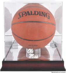 Ole Miss Rebels Mahogany Antique Finish Logo Basketball Display Case with Mirror Back