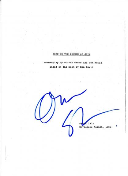 Oliver Stone  Born On The Fourth Of July Signed Script Full 66 Page Exact Proof