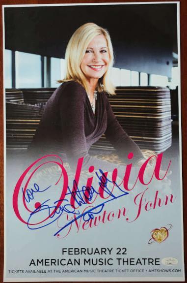 Olivia Newton John JSA Coa Signed Concert Poster Photo Autograph