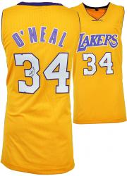 Shaquille O' Neal Los Angeles Lakers Autographed Yellow Custom Jersey - Mounted Memories