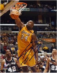 """Shaquille O'Neal Los Angeles Lakers vs San Antonio Spurs Dunking Autographed 8"""" x 10"""" Photograph"""