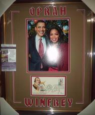 Oprah Winfrey & President Obama Signed Autographed Double Matted Framed Jsa Coa