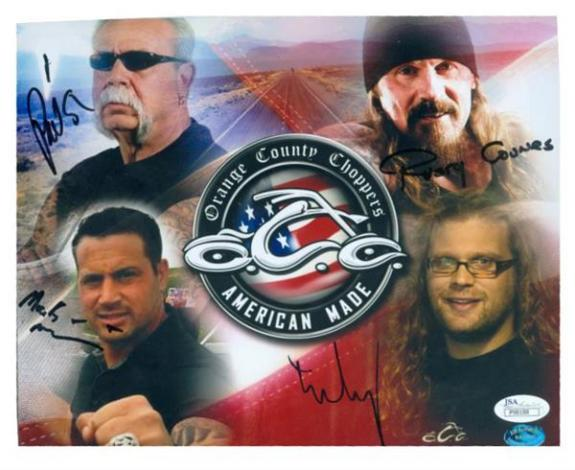 Orange County Choppers cast signed 8x10 signed by Paul Teutul Sr., Rusty Coones, Michael Teutul & Nick Mariconi JSA Authenticated