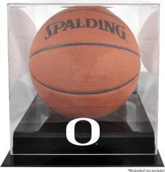 Oregon Ducks Black Base Basketball Display Case with Mirrored Back