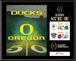 """Oregon Ducks College Football Playoff """"We're In!"""" Sublimated  12"""" x 15"""" Plaque"""